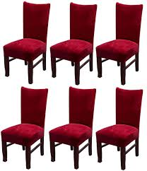 MOCAA Velvet Stretch Dining Room Chair Covers Thick Soft Removable Dining  Chair Slipcovers Set Of 6 M008 (Wine Red) Amazoncom 6 Pcs Santa Claus Chair Cover Christmas Dinner Argstar Wine Red Spandex Slipcover Fniture Protector Your Covers Stretch 8 Ft Rectangular Table 96 Length X 30 Width Height Fitted Tablecloth For Standard Banquet And House 20 Hat Set Everdragon Back Slipcovers Decoration Pcs Ding Room Holiday Decorations Obstal 10 Pcs Living Universal Wedding Party Yellow Xxxl Size Bean Bag Only Without Deisy Dee Low Short Bar Stool C114 Red With Green Trim Momentum Lovewe 6pcs Nordmiex Spendex 4 Pack Removable Wrinkle Stain Resistant Cushion Of Clause Kitchen Cap Sets Xmas Dning