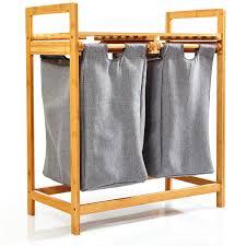 wäschekorb mit 2 ausziehbaren wäschesäcken aus bambus regal für bad schlafzimmer ca 73x64x33cm