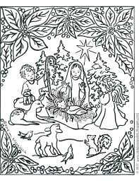 Christmas Coloring Pages Manger Scene Nativity Page Printable Full Size