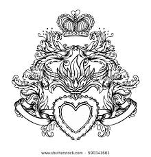 Sacred Heart Of Jesus With Baroque Ribbons Vector Illustration Black Isolated On White Trendy