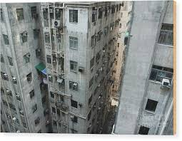 Old Run Down Concrete High Rise Apartment Buildings In Kowloon Wood Print By Sami