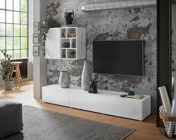 wohnwand 2 tlg wohnzimmer anbauwand weiß hochglanz neu 90290015 ceres webshop