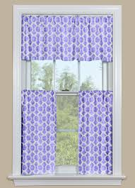 Geometric Pattern Window Curtains by Retro Kitchen Curtain Valance And Tier Pair In Purple And White