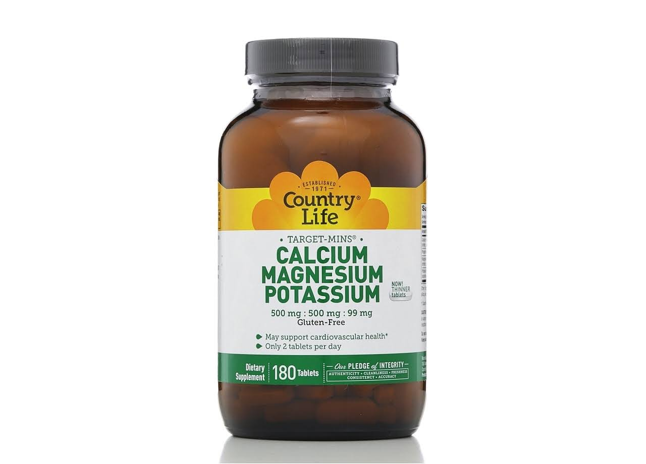 Country Life Target Mins Calcium Magnesium Potassium - 500mg, 180 Tablets