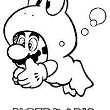 Super Mario Brothers Glaxy Dive With Forg Costume Coloring Page