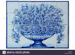 ceramic glazed tile picture plaque blue white bowl flowers cut out