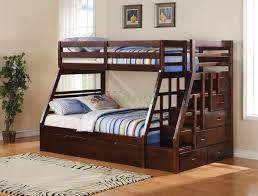 Taurus Twin Full Bunk Bed with Stairs and Trundle in Espresso