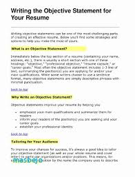Objective For Resume Examples Inspirational Good Statement How Write A