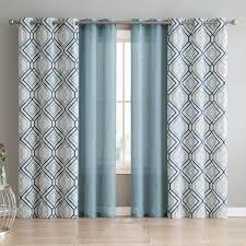 mathilda geometric semi sheer grommet curtain panels