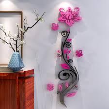 Aliexpress Buy Rose Flower Acrylic Three Dimensional Wall