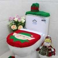 3er set weihnachten toilettensitzbezug wc sitzbezug toilette weihnachten deko weihnachtsdeko für badezimmer toilette mit anti rutsch teppich