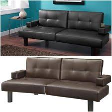 Mainstays Sofa Sleeper Black Faux Leather by Leather Sofa Bed Ebay