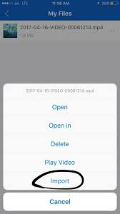 Where does import to system in shareit video stores on iphone