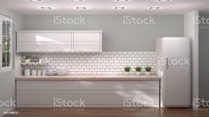 Modern White Kitchen Interior 3d Rendering Stockfoto Und Weiße Küche Interieur Küche Moderne Küche Restaurant 3d Rendering Weiß Modernes Design Holzboden Home Hintergrund Stockfoto Und Mehr Bilder