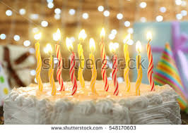 Birthday cake with candles on lights background