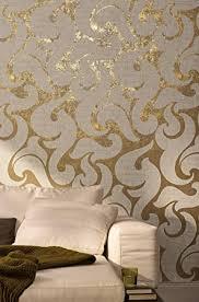 tapete gold weiß ornamental modern barock edel linien für schlafzimmer wohnzimmer oder küche 10 05m x 0 53m made in germany