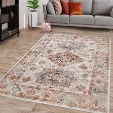 wohnzimmer teppich kurzflor in marokkanischem design used look mit bordüre farbe creme größe 300x400 cm