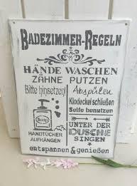 holzschild badezimmerregeln weiß