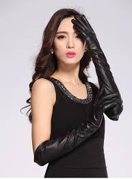 taomigans leather gloves women luvas inverno solid long 50cm
