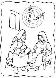 Luke 139 56 Mary Visited Elizabeth Coloring Page