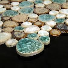 glazed porcelain pebble tile kitchen backsplash shaped