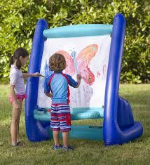 HearthSong Giant Inflatable Art Painting Easel Indoor Outdoor 4 Paints 4  Sponges Paintbrush Easy Clean Heavy-Duty Vinyl 39