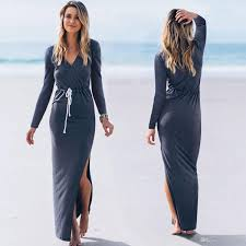 women u0027s long sleeve v neck side split long maxi dresses party