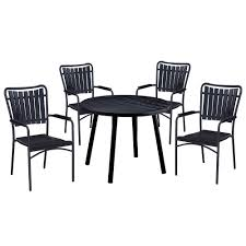 5-Piece Black Metal Outdoor Dining Set With Stackable Chairs Comfortcare 5piece Metal Outdoor Ding Set With 52 Round Table T81 Chair Provence Hampton Bay Mix And Match Stack Patio 49 Amazoncom Christopher Knight Home Lala Grey 7 Chairs Of 4 Tivoli Tub Black Merilyn Rope Steel Indoor Beige Washington Coal Click Pc Stainless Steel Teak Modern Rialto Rectangle 6