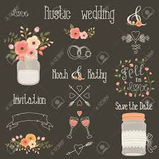 Rustic Wedding Design Elements With Pink And Peach Flowers Set Of Vintage Hand Drawn Clip