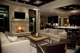 Transitional Living Room Leather Sofa by Stone Fireplace Wall With Flatscreen Tv Niche Transitional