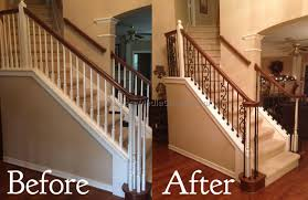 Model Staircase: Stair And Rail Renovation Spring Youtube Awesome ... Are You Looking For A New Look Your Home But Dont Know Where Replace Banister Neauiccom Replacing Half Wall With Wrought Iron Balusters Angela East Remodelaholic Stair Renovation Using Existing Newel Fresh Best Railing Replacement 16843 Heath Stairworks Servicescomplete Removal Of Old Railing Staircase Remodel From Mc Trim Removal Carpet Home Design By Larizza Chaing Your Wood To On Fancy Stunning Styles 556
