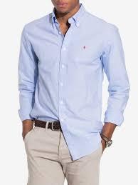 Oxford Button Down Morris Light Blue Shirts Men Clothing