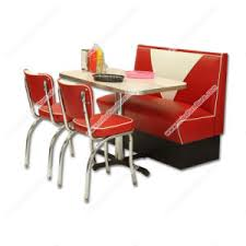 Classical Retro 1950s Diner Red Table Chair And Booth Set American Midcentury