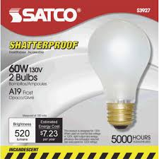 satco a19 incandescent shatterproof service light bulb