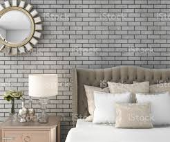3d rendering klassischen luxus schlafzimmer mit hocker und spiegel und ziegel wand stockfoto und mehr bilder architektur