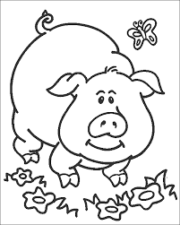 Coloring Pages Printable Best Toddler For Preschoolers Student Activity Painting Pig Inspiration Flower Grass