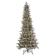 65ft Pre Lit Slim Artificial Christmas Tree Lightly Flocked Canyon