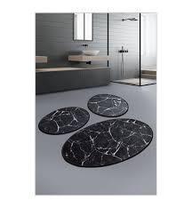 badematten set 3 stück marmor schwarz weiss