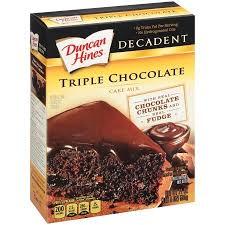 Duncan Hines Decadent Cake Mix Triple Chocolate 21 0 OZ