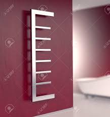 badezimmer mit einem modernen heizkörper auf einer roten wand 3d render