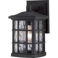 quoizel mln8307kfl 1 light outdoor wall lantern mystic black ebay