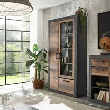 details zu vitrine 24 standvitrine buffet wohnzimmer in matera grau mix braun