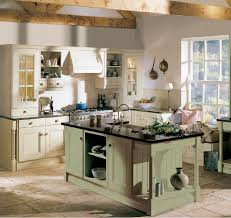 Kitchen Vintage Warm French Country Style With Open Shelves Cabinet And Tile Floor