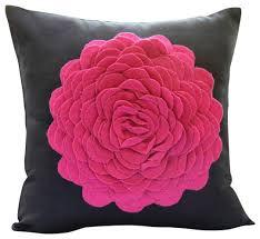 Hot Pink Rose Black Faux Suede Decorative Pillowcase Modern