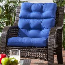 44x22 inch 3 section outdoor marine blue high back chair cushion
