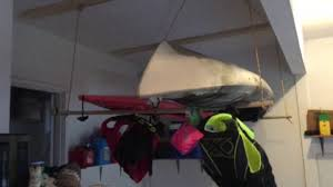 Kayak Hoist Ceiling Rack by Easy Diy Double Kayak Hoist For Garage Storage Pulley System Lift