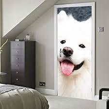 samojede hund zu hause selbstklebende vinyl abnehmbare schlafzimmer tür aufkleber aufkleber türen aufkleber 30 x 79 zoll 77 x 200 cm 2 stück