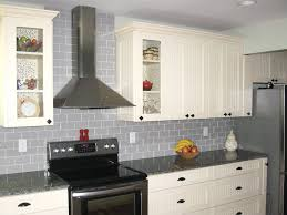 Tiled White Backsplash Kitchen Ideas Gray Accents And Glass Pendant Lights French Country Dark Granite Top Cream Tile