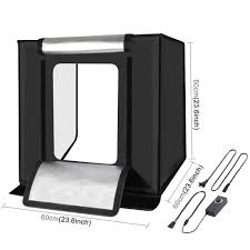 100 Studio Tent Photo Light Box Portable 60 X 60 X 60 Cm Light LED 5500K Mini 60W Photography Kit With 3 Removab