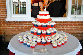 The colors for the wedding were Red Navy Blue and white The beautiful bride and groom